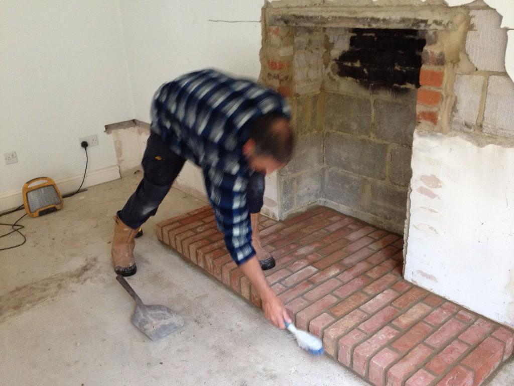 Custom Built Rustic Fireplace With Wood Burner Farnham
