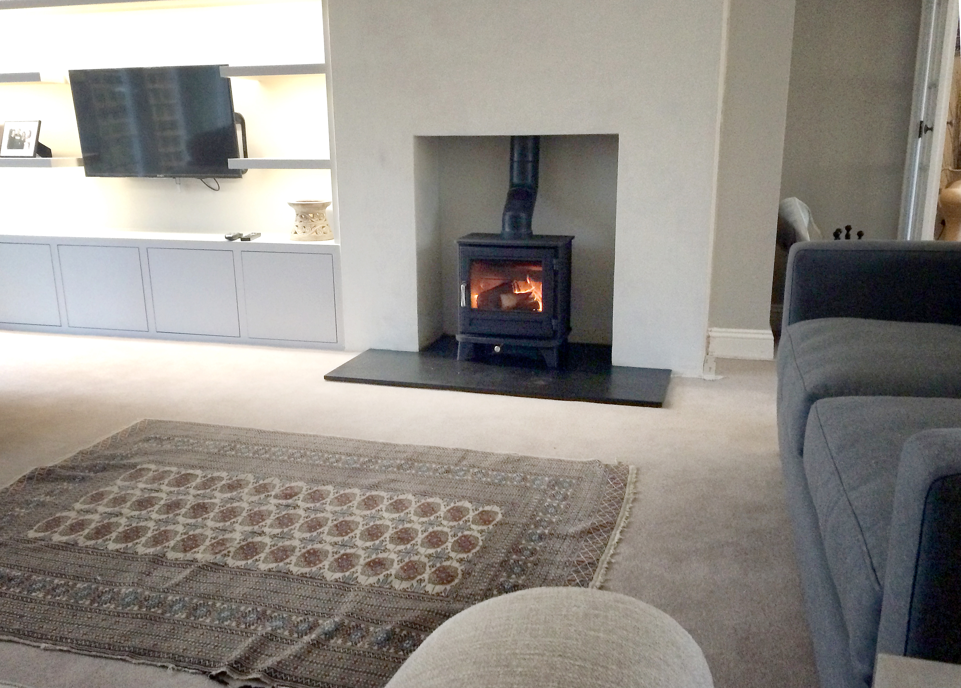 Wood Burning Stove Installation With Riven Slate Hearth