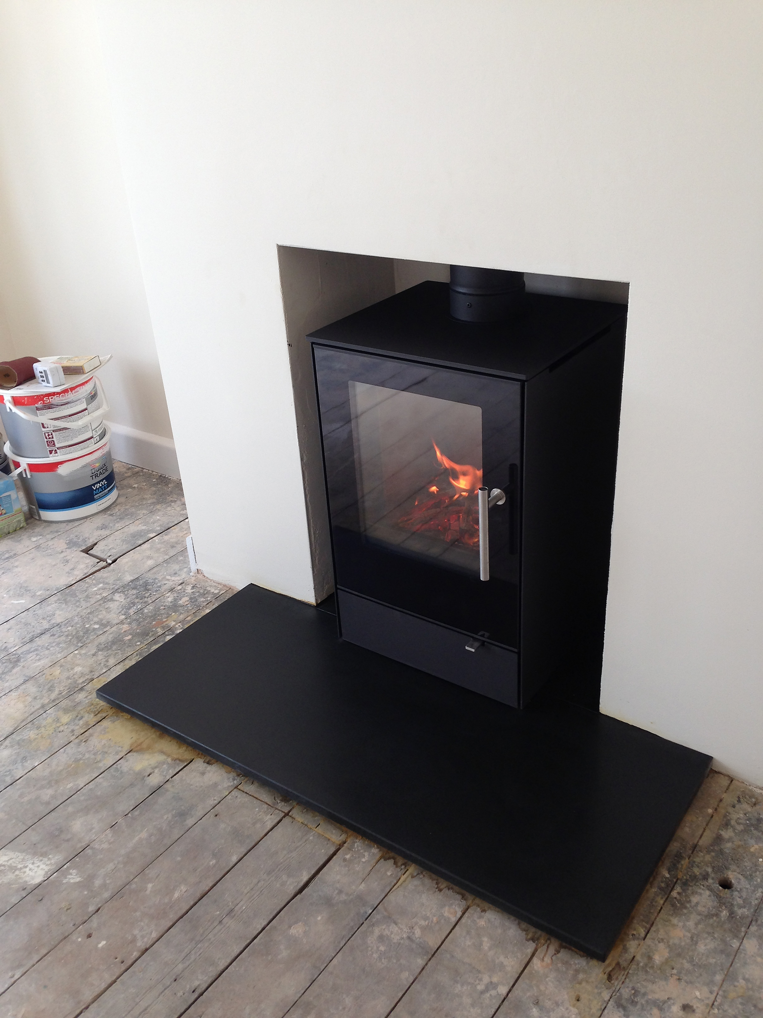 Modern Wood Burning Stove Installation Weybourne Farnham