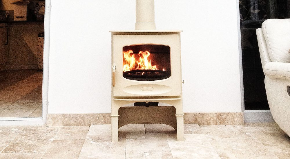 Cream Charnwood C-five with tall stand in conservatory