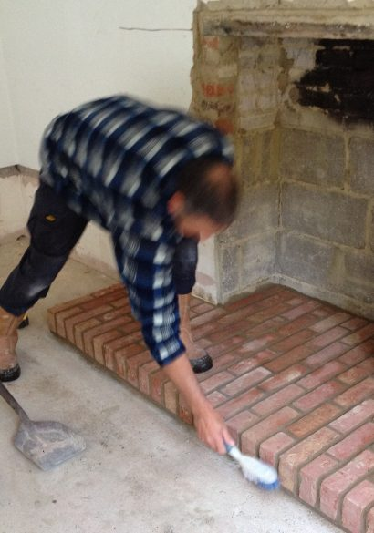 brick hearth almost finished, Farnham, Surrey