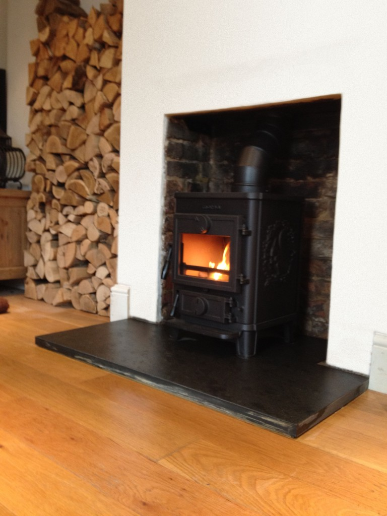 Natural Brick Fireplace with Morso Wood Burner Ash Vale