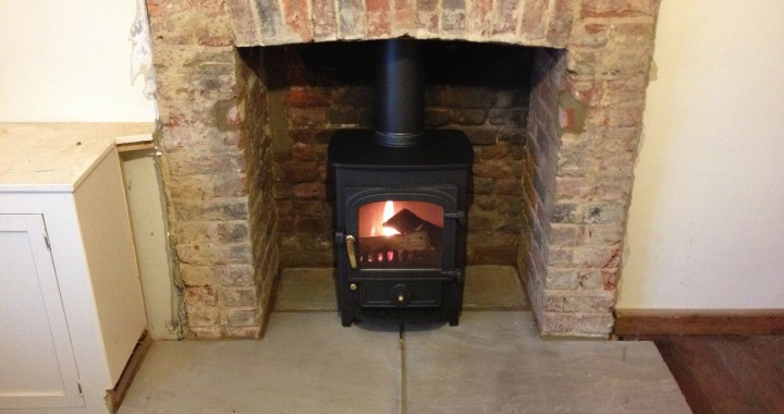 clearview wood burning stove with flagstone hearth, Farnham, Surrey