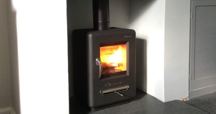 Alpine wood burning stove installation