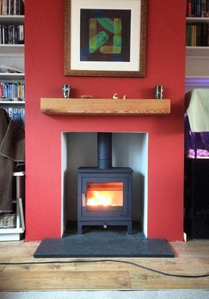 Modern wood burning stove installation Hampshire
