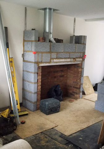 chimney breast with twin wall flue