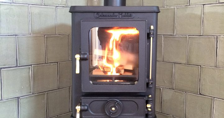 Hobbit wood burning stove with hand made tiles
