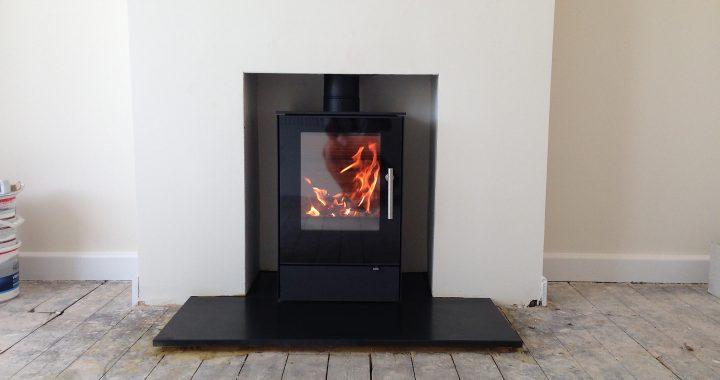 Ultra modern wood burning stove farnham