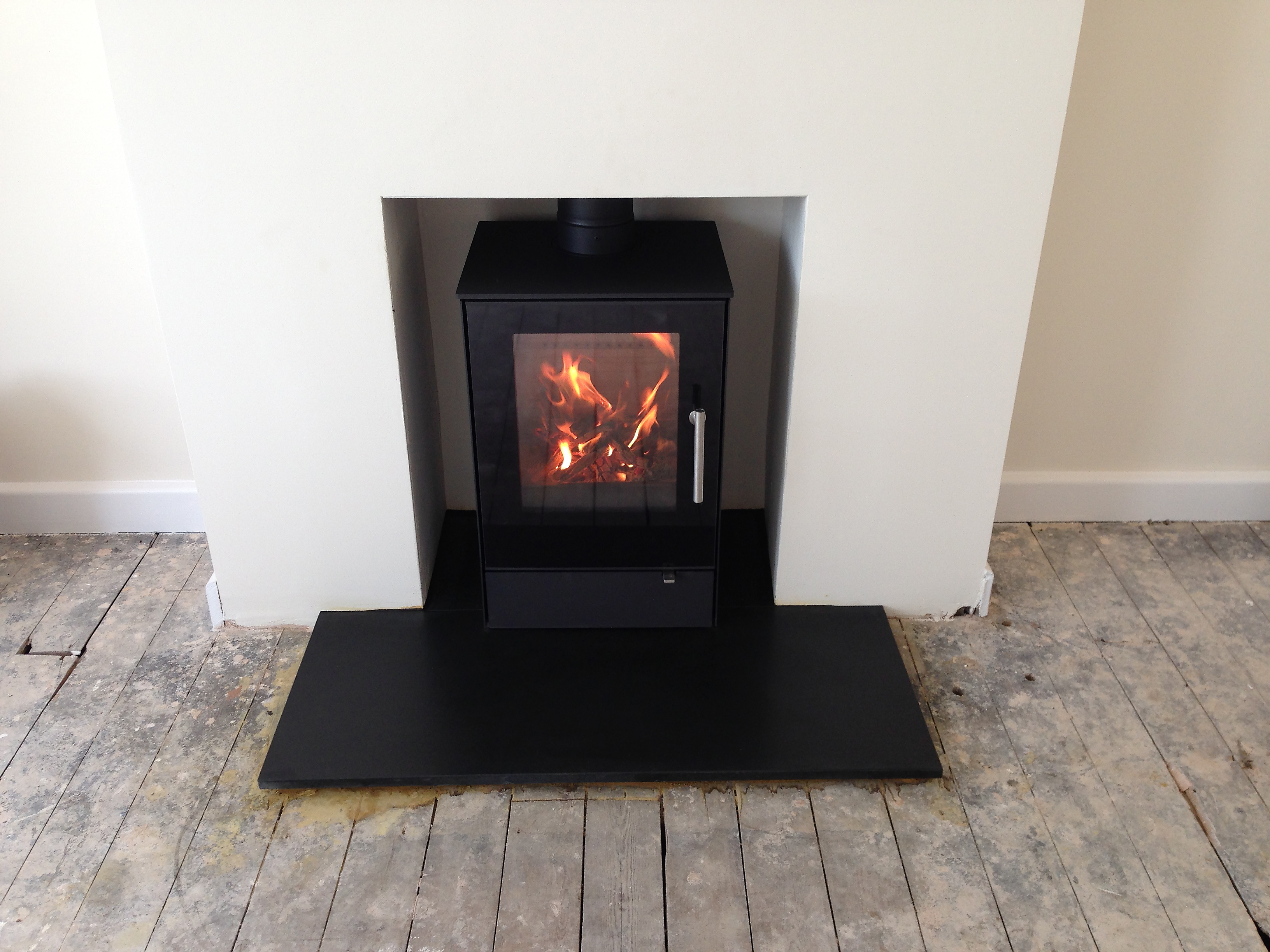 Modern Wood Burning Stove Installation Weybourne Farnham