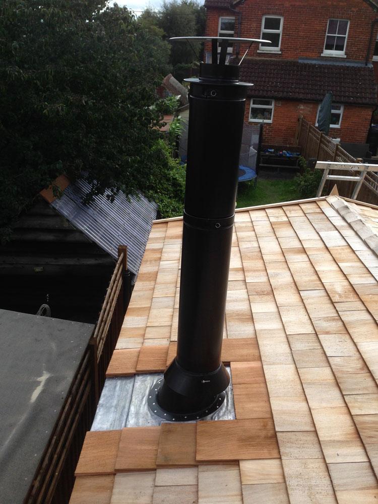 twin wall flue install in garden room