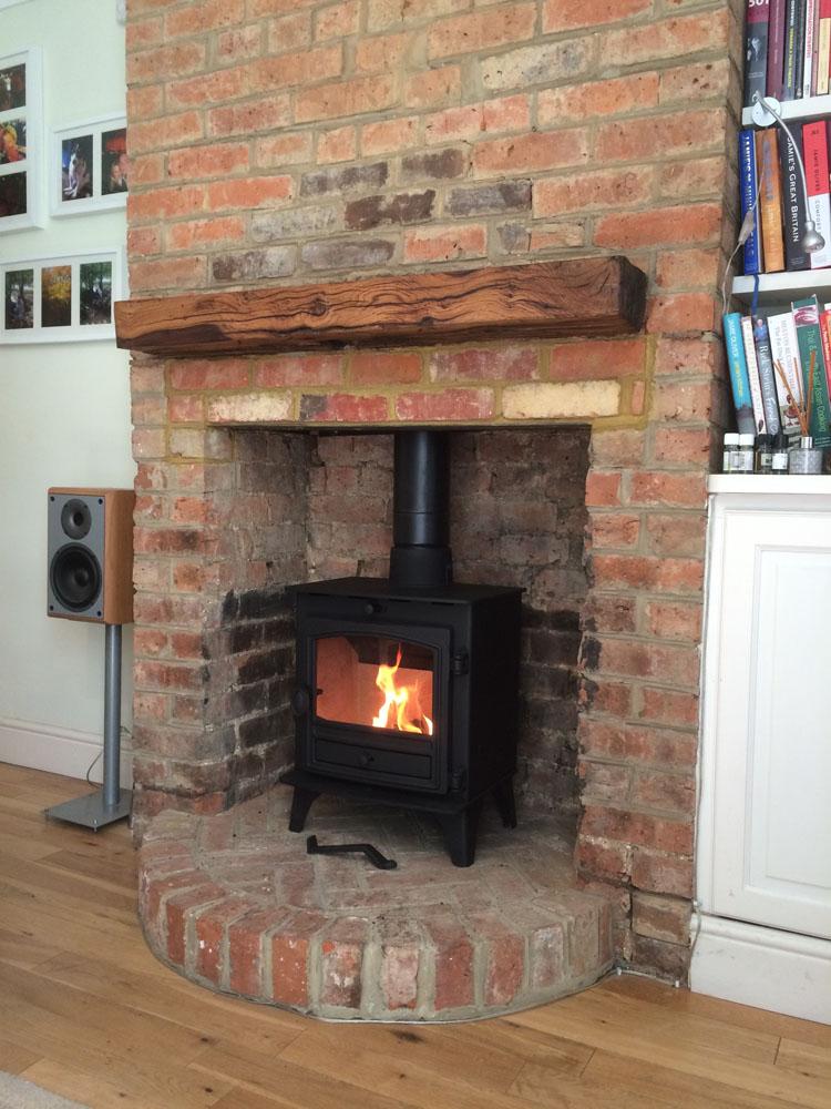 log burner with brick hearth guildford