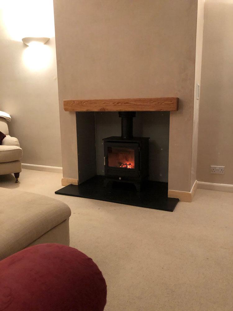 log burner with false chimney breast
