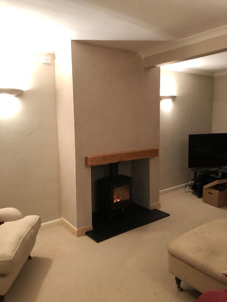 False chimney breast and wood burning stove
