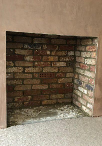 brick lined false chimney breast