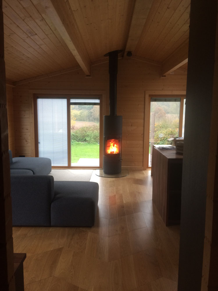 free standing log burner in wood cabin