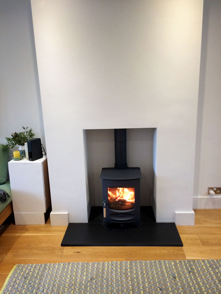 clean modern fireplace design in Aldershot