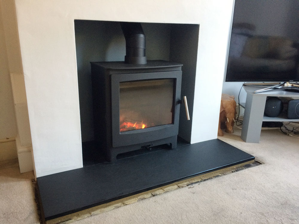 log burner on riven slate hearth
