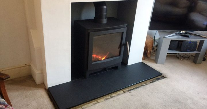 log burner with large window