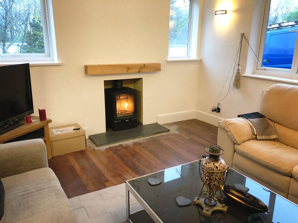 modern wood burner Haselmere