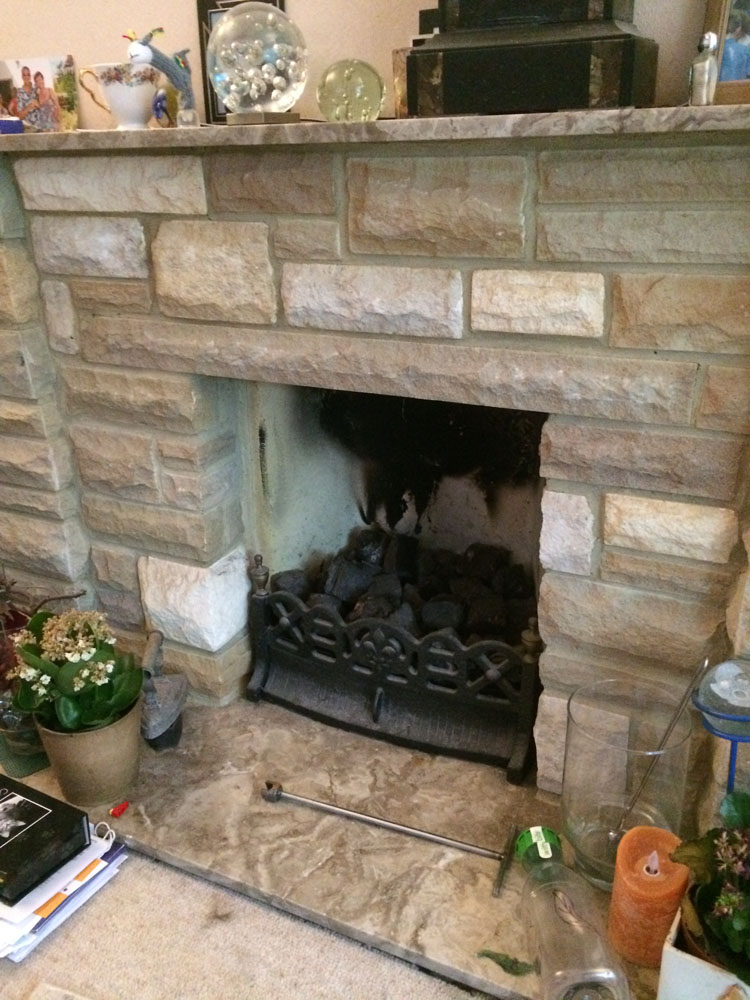 stone fireplace to be remodeled