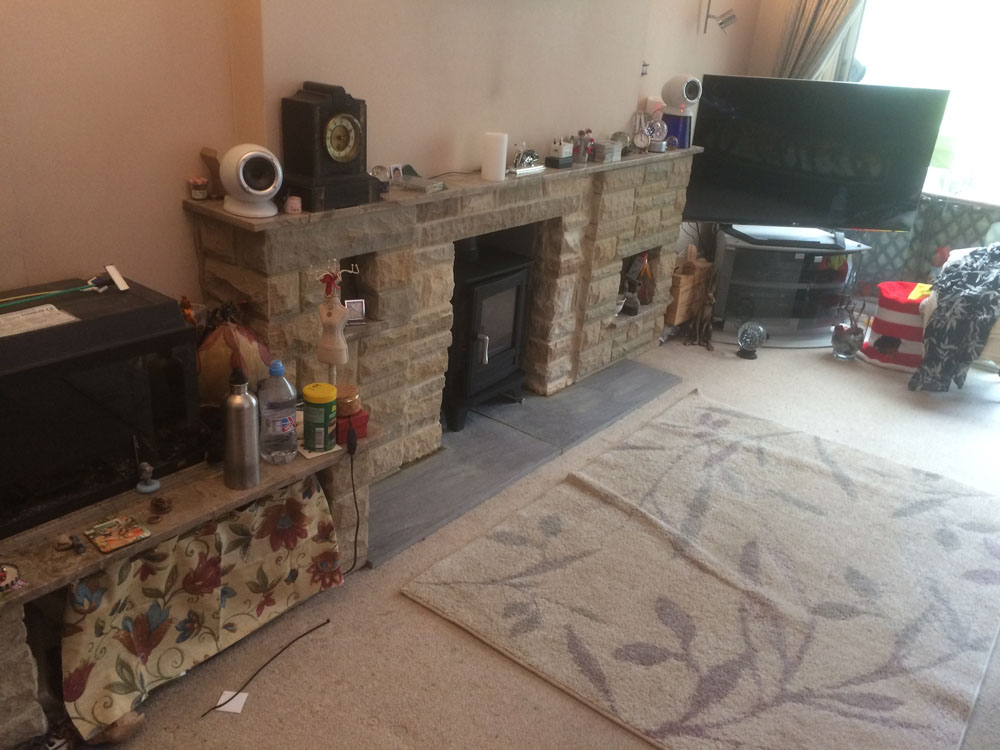 Remodelled stone fireplace