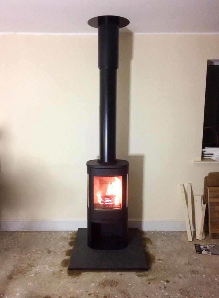 free standing stove on granite hearth