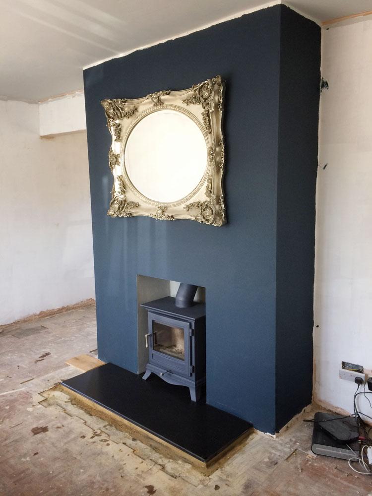 ornate wood burner in Atlantic blue