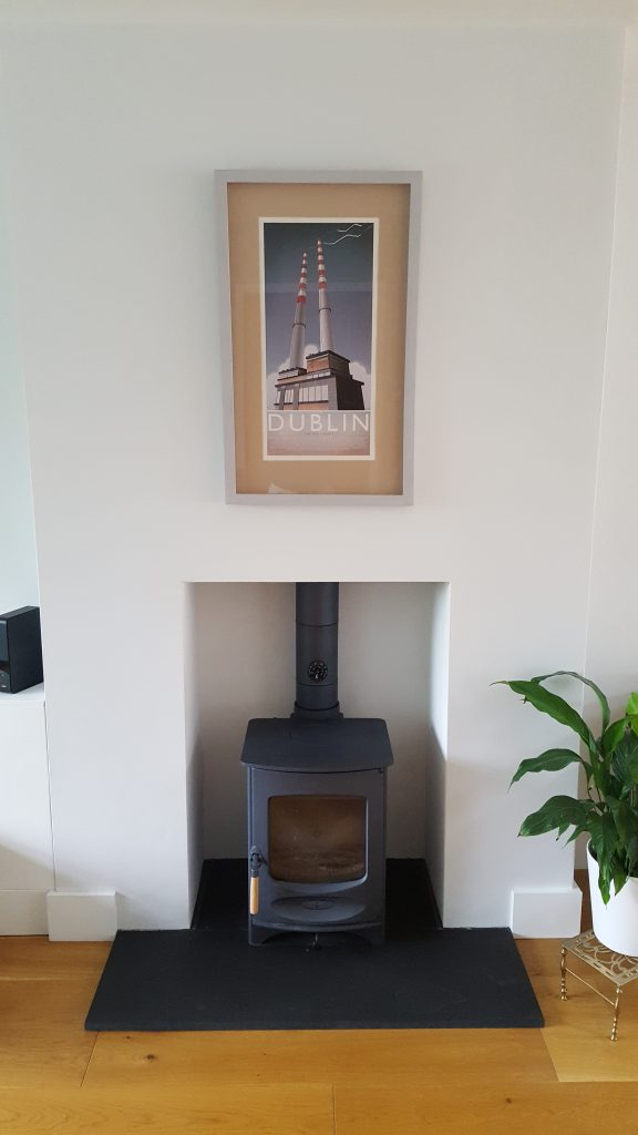 Charnwood blue wood burning stove fitted in Aldershot